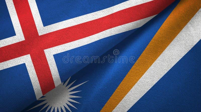 Paño de la materia textil de las banderas de Islandia y de Marshall Islands dos, textura de la tela libre illustration