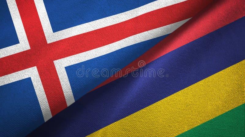Paño de la materia textil de las banderas de Islandia y de Mauricio dos, textura de la tela ilustración del vector