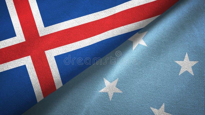 Paño de la materia textil de las banderas de Islandia y de Micronesia dos, textura de la tela ilustración del vector