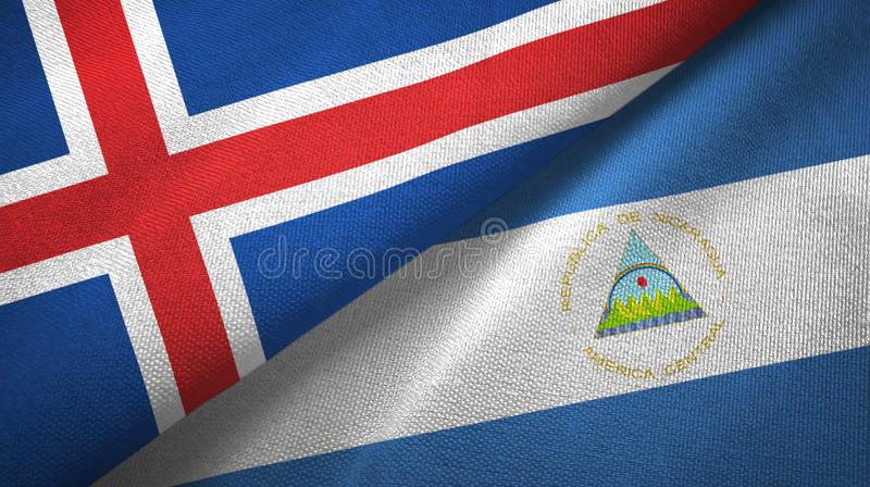 Paño de la materia textil de las banderas de Islandia y de Nicaragua dos, textura de la tela ilustración del vector