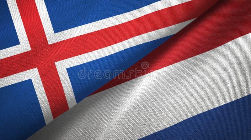 Paño de la materia textil de las banderas de Islandia y de Países Bajos dos, textura de la tela libre illustration