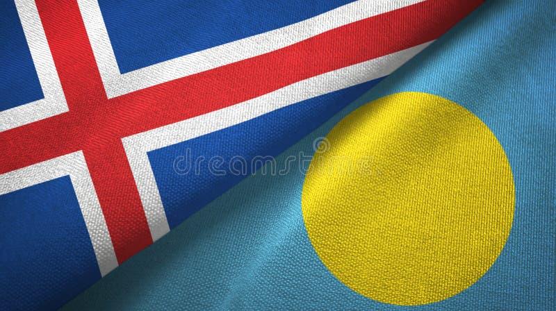 Paño de la materia textil de las banderas de Islandia y de Palau dos, textura de la tela stock de ilustración