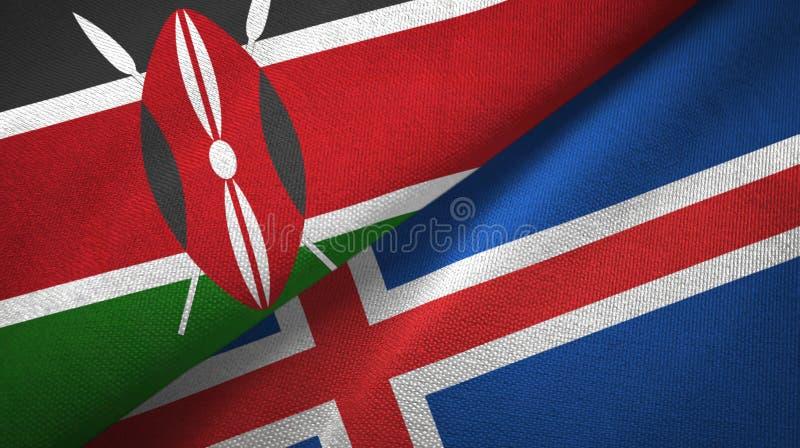 Paño de la materia textil de las banderas de Kenia y de Islandia dos, textura de la tela ilustración del vector
