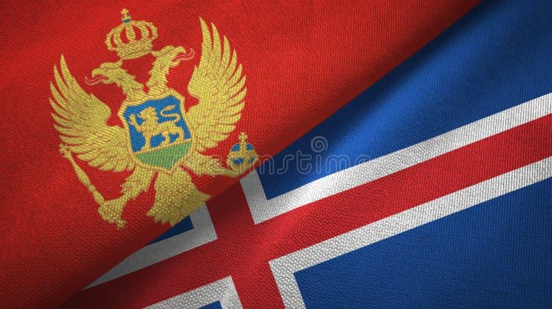 Paño de la materia textil de las banderas de Montenegro y de Islandia dos, textura de la tela stock de ilustración