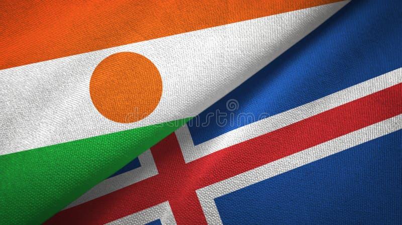 Paño de la materia textil de las banderas de Niger y de Islandia dos, textura de la tela ilustración del vector