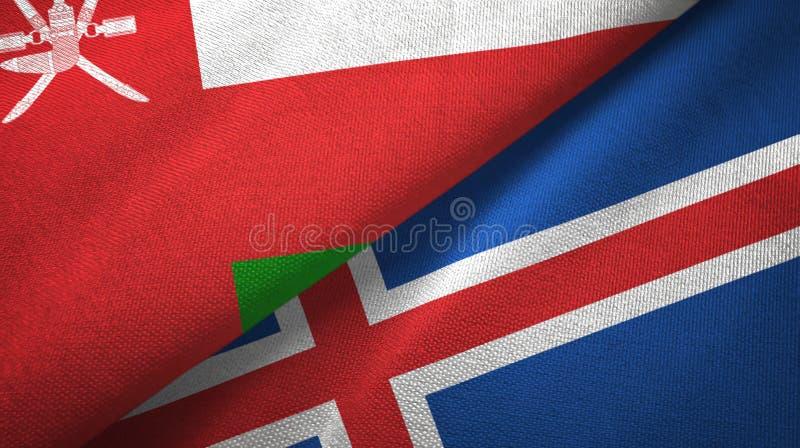 Paño de la materia textil de las banderas de Omán y de Islandia dos, textura de la tela libre illustration