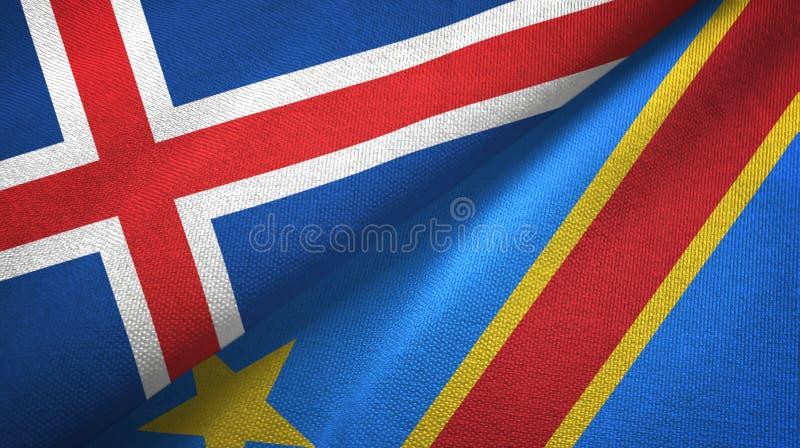 Paño de la materia textil de las banderas de la república Democratic dos de Islandia y de Congo libre illustration