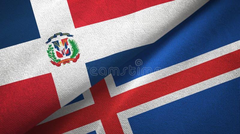 Paño de la materia textil de las banderas de la República Dominicana y de Islandia dos, textura de la tela ilustración del vector
