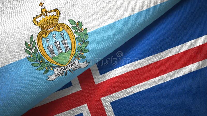 Paño de la materia textil de las banderas de San Marino y de Islandia dos, textura de la tela ilustración del vector