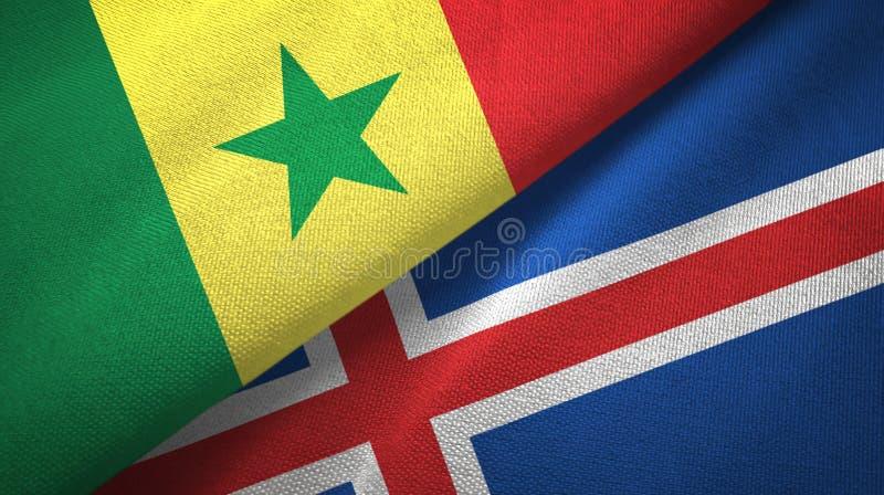 Paño de la materia textil de las banderas de Senegal y de Islandia dos, textura de la tela libre illustration