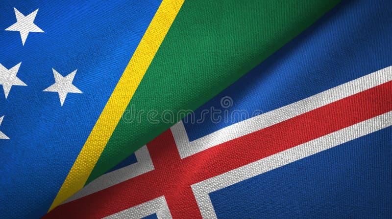 Paño de la materia textil de las banderas de Solomon Island y de Islandia dos, textura de la tela libre illustration