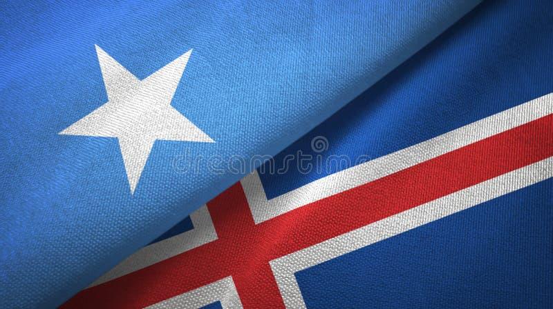 Paño de la materia textil de las banderas de Somalia y de Islandia dos, textura de la tela ilustración del vector