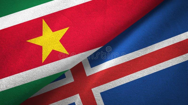 Paño de la materia textil de las banderas de Suriname y de Islandia dos, textura de la tela ilustración del vector