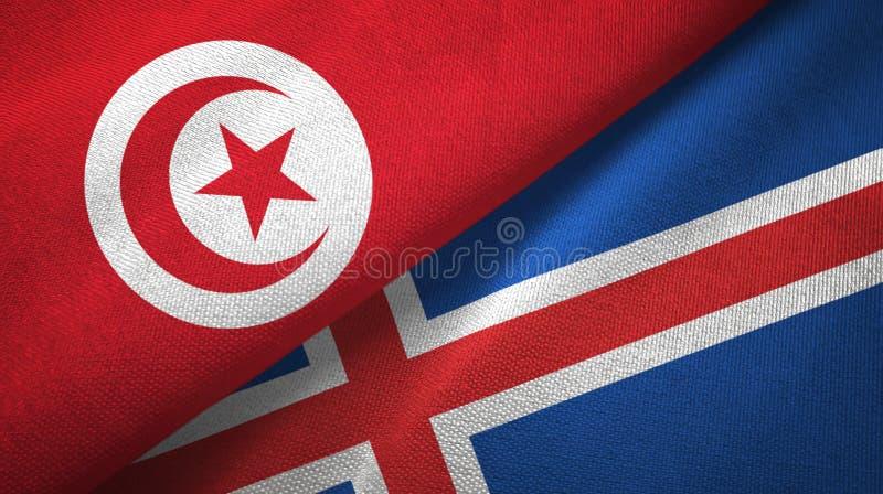 Paño de la materia textil de las banderas de Túnez y de Islandia dos, textura de la tela stock de ilustración