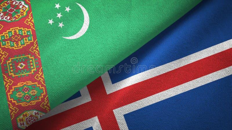 Paño de la materia textil de las banderas de Turkmenistán y de Islandia dos, textura de la tela stock de ilustración
