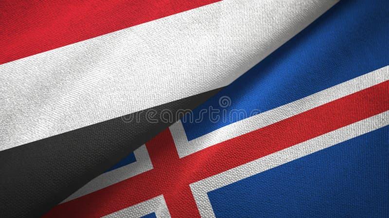 Paño de la materia textil de las banderas de Yemen y de Islandia dos, textura de la tela ilustración del vector