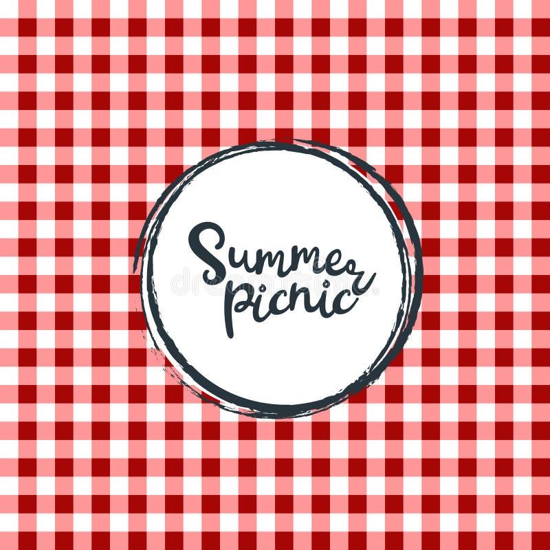 Paño de mesa de picnic Modelo a cuadros inconsútil del vector Textura de la tela de la tela escocesa del color del vintage libre illustration