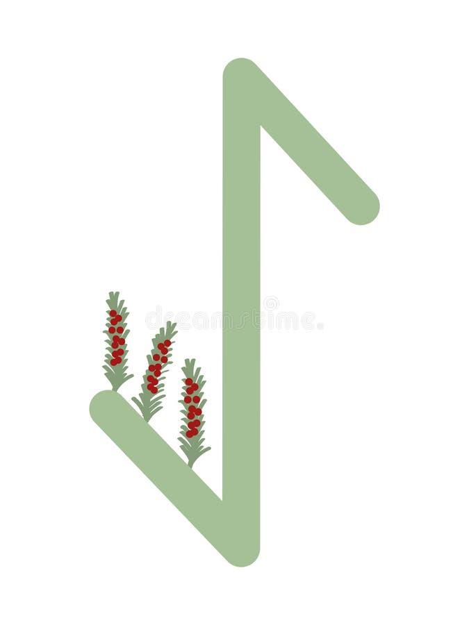 Paño grueso y suave Escandinavia Ejemplo del vector de las runas Eihwaz El símbolo de la letra Futhark Esotérico espiritual Esqui stock de ilustración