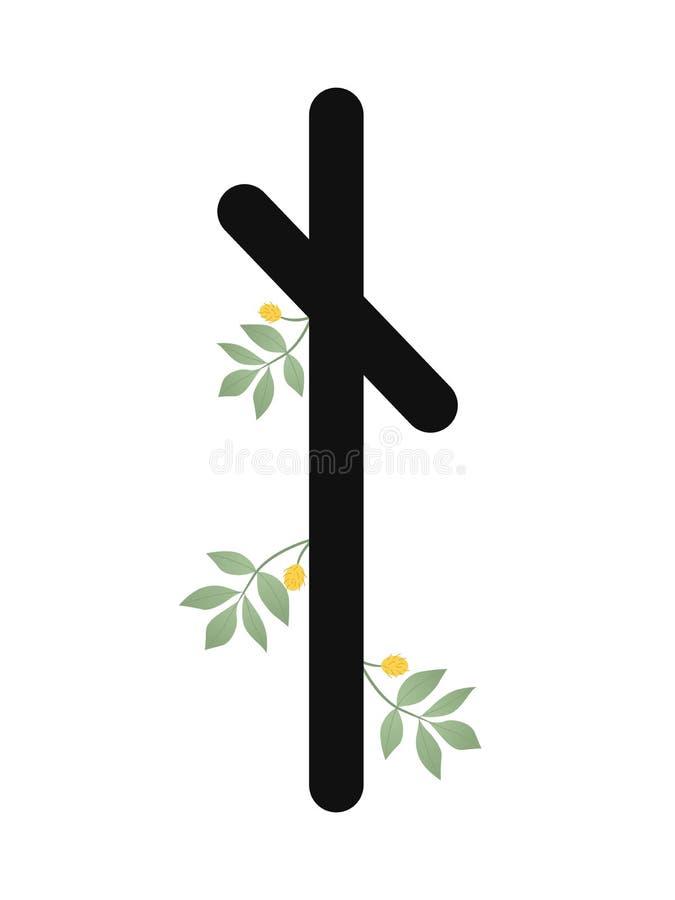 Paño grueso y suave Escandinavia Ejemplo del vector de las runas Nautyz Nauthis El símbolo de la letra Futhark Esotérico espiritu libre illustration
