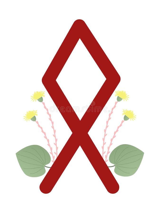 Paño grueso y suave Escandinavia Ejemplo del vector de las runas Othila Othal El símbolo de la letra Futhark Esotérico espiritual libre illustration