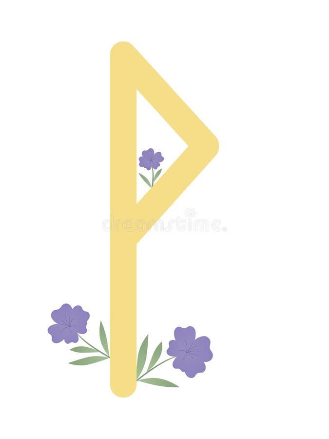 Paño grueso y suave Escandinavia Ejemplo del vector de las runas Wunjo El símbolo de la letra Futhark Esotérico espiritual Paño g ilustración del vector