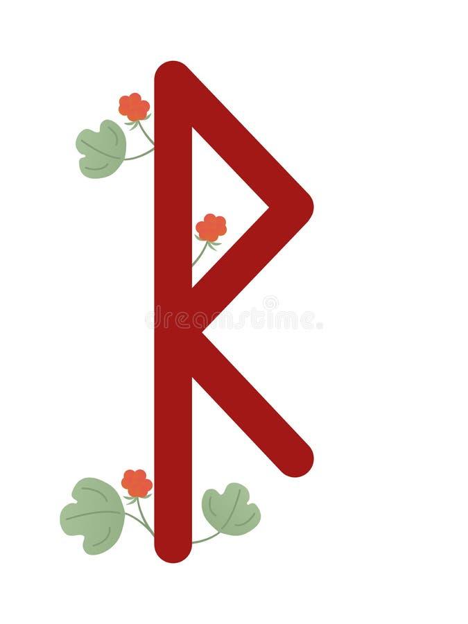 Paño grueso y suave Escandinavia Ejemplo del vector del raido de las runas El símbolo de la letra Futhark Esotérico espiritual Pa stock de ilustración