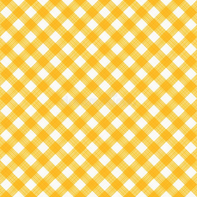 Paño inconsútil modelo diagonal amarillo y blanco de la guinga, o de la tela ilustración del vector