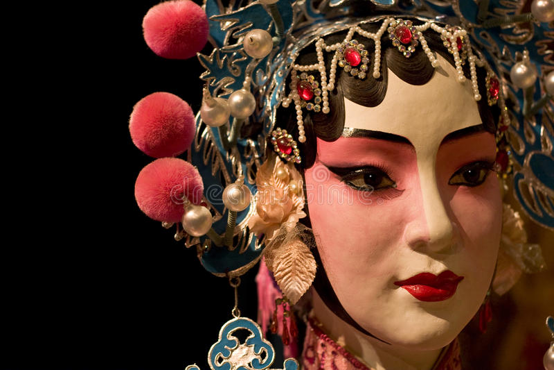 Paño simulado y negro de la ópera china como espacio del texto fotos de archivo