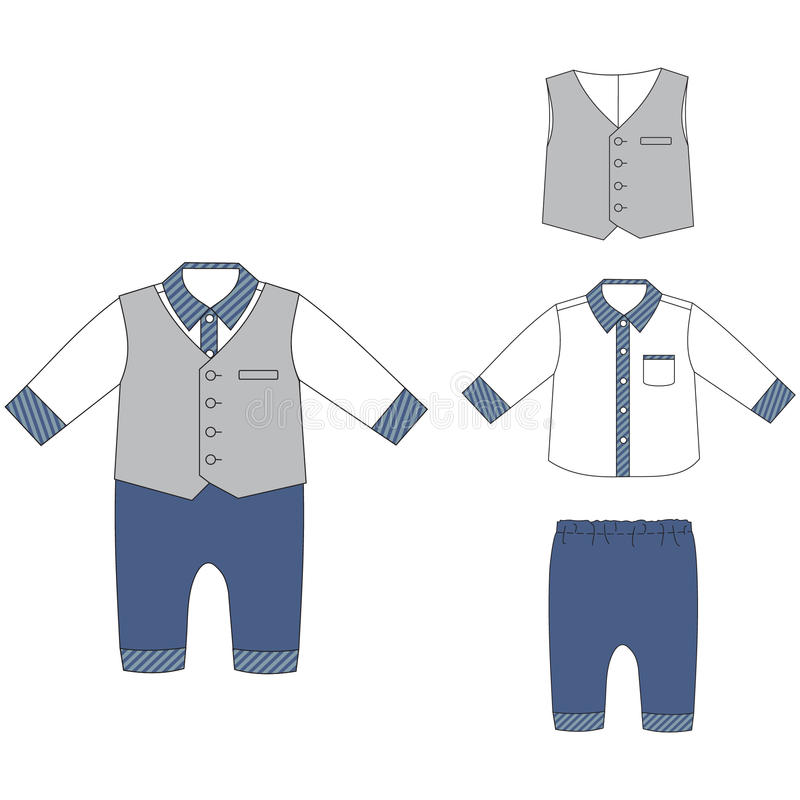 Paños del bebé, camisa del equipo del bebé, pantalones y chaleco elegantes ilustración del vector
