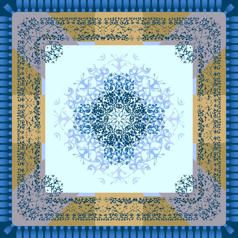 Pañuelo o servilleta con un ornamento El tema del invierno stock de ilustración
