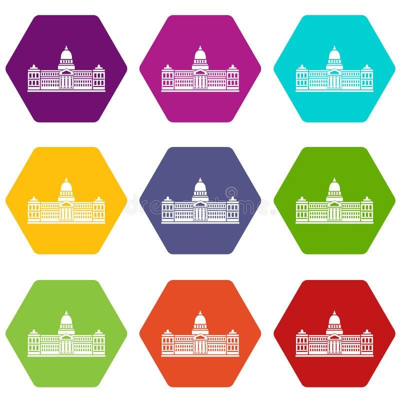 Pałac kongres, Argentyna ikony koloru ustalony sześciobok ilustracja wektor