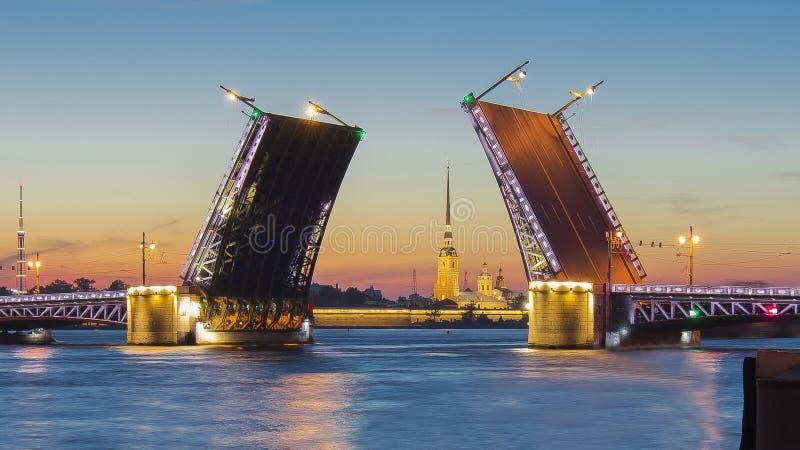 Pałac Paul, mosta i Peter forteca przy białą nocą i, święty Petersburg, Rosja fotografia royalty free