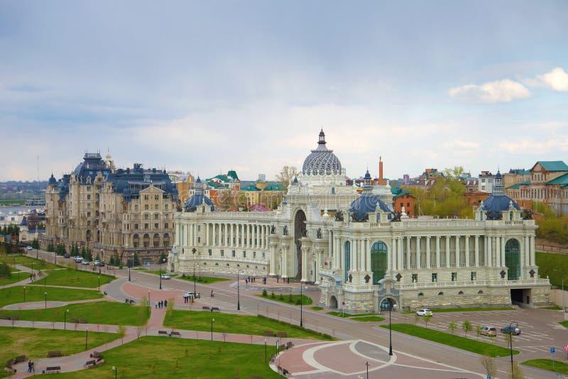 Pałac rolnictwo, chmurny wiosna dzień (ministerstwo rolnictwa) Kazan, Tatarstan obraz royalty free