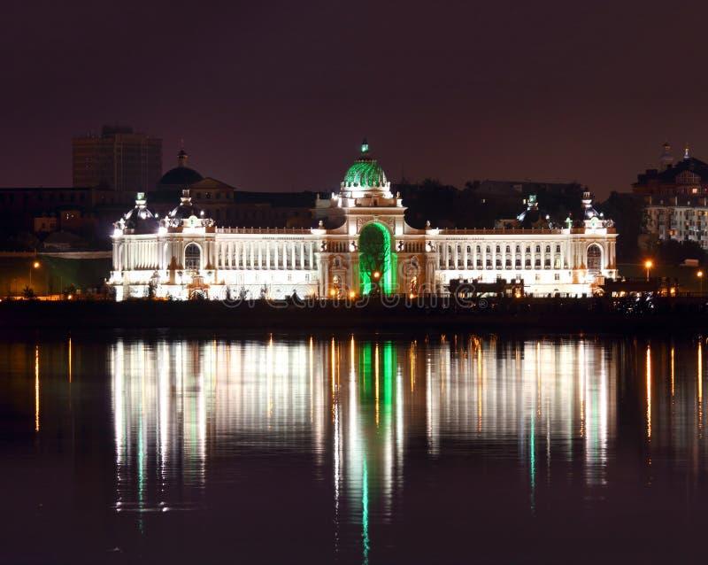 Pałac rolnicy przy nocą w Kazan Rosja fotografia stock