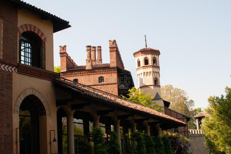 Pałac w średniowiecznej wiosce Turyn, Włochy obraz stock