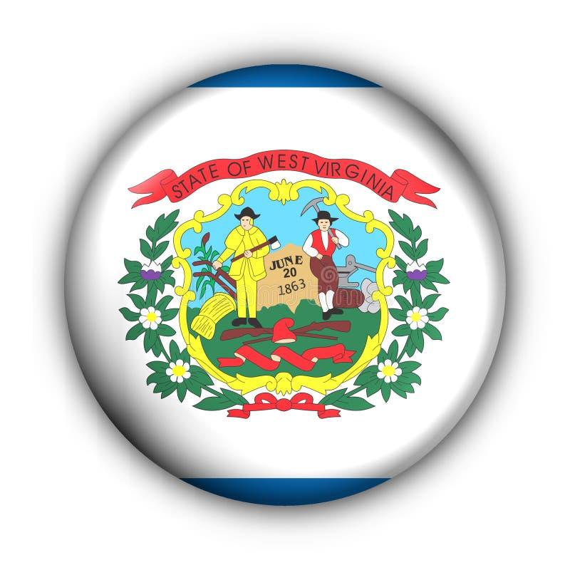 państwa bandery guzik rundę usa west Virginia royalty ilustracja