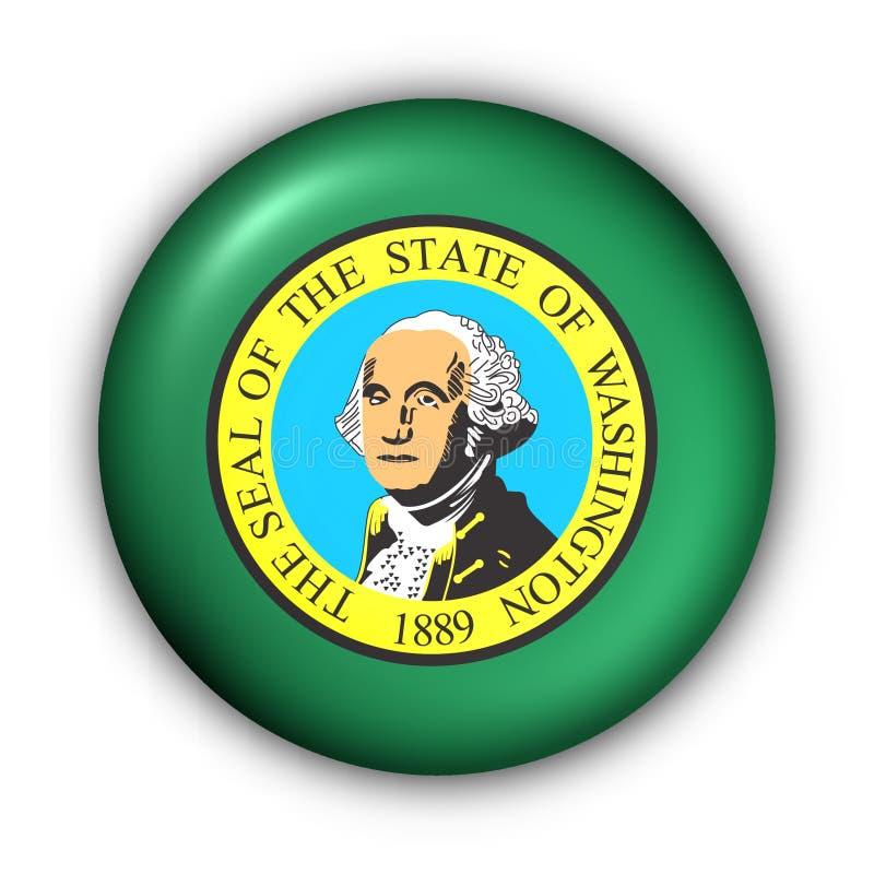 państwa bandery guzik rundę Washington usa royalty ilustracja