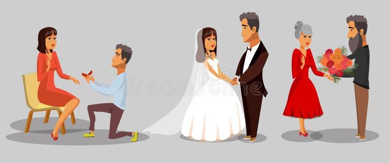 Państwa Młodzi, żony i męża Cliparts set, ilustracja wektor