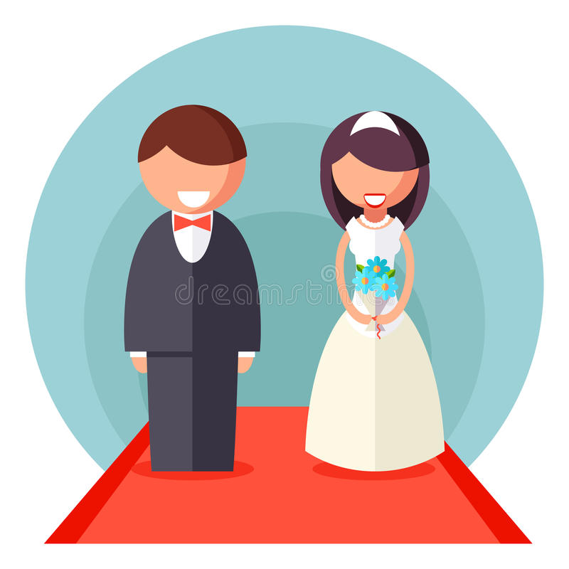 Państwa Młodzi małżeństwa ikony Ślubnego symbolu projekta Płaski szablon odizolowywający w Białej tło wektoru ilustraci ilustracji