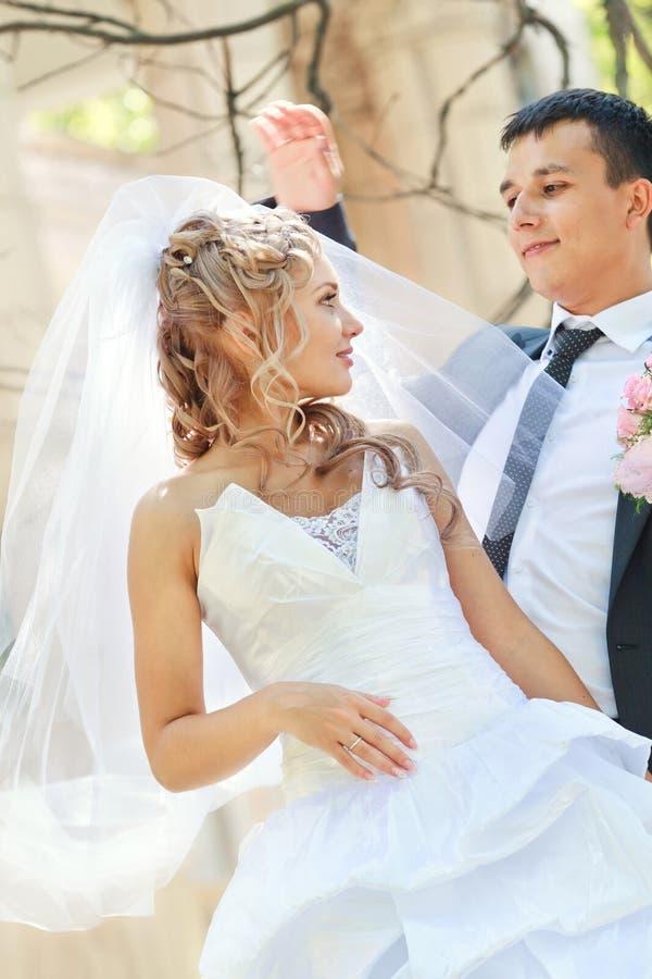 Download Państwa Młodzi Ono Uśmiecha Się Obraz Stock - Obraz złożonej z nowożeńcy, bride: 28967507