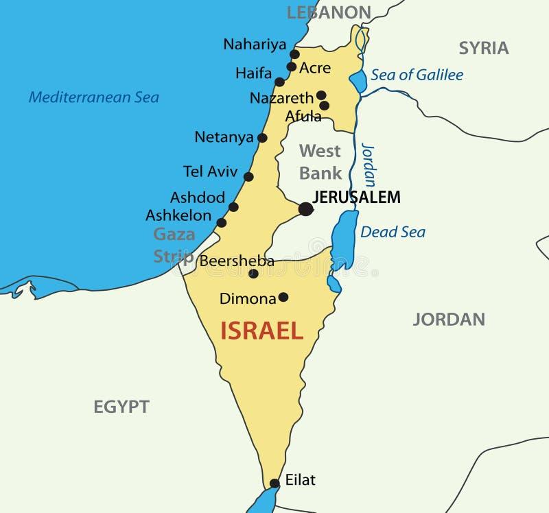 Państwo Izraelskie - mapa ilustracja wektor