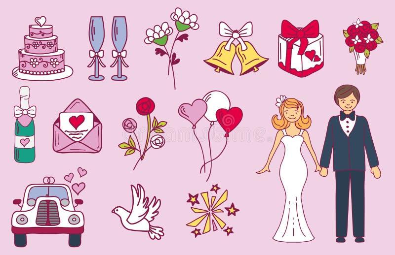 Państwo młodzi ślubu pary małżeństwa godowe ikony projektują ceremonii świętowanie i wakacyjnych ludzi ludowego ikony piękna ilustracji