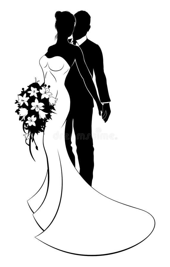 Państwo Młodzi żony i męża Ślubna sylwetka