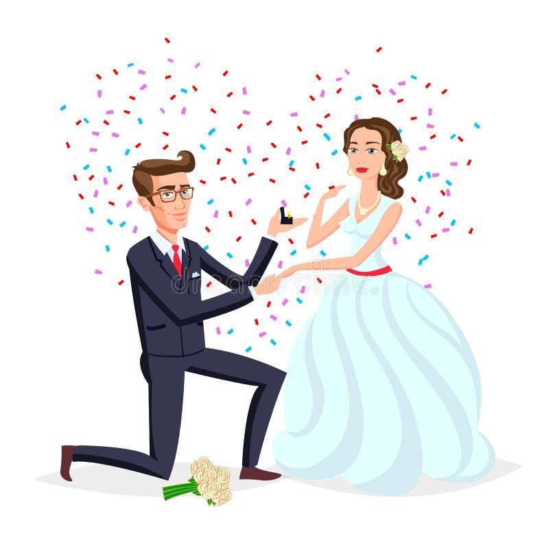 Państwo młodzi jako miłość poślubia pary ilustrację Kreskówka mąż i romantyczna żony ceremonia, kobieta z kwiatami Małżeństwo cer ilustracja wektor