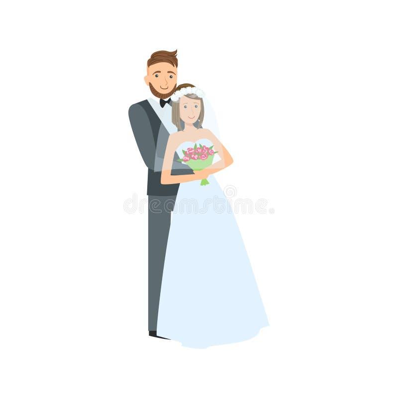 Państwo Młodzi nowożeńcy para W Tradycyjnej Ślubnej sukni Z kostiumem, przesłoną I ilustracji