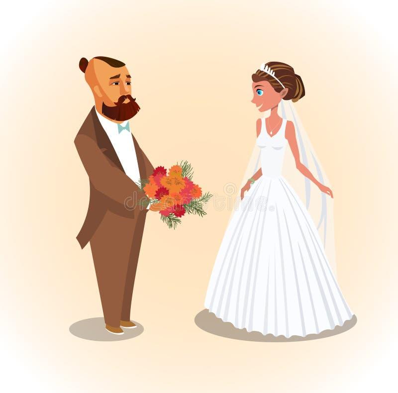 Państwo Młodzi, nowożeńcy wektoru ilustracja ilustracji