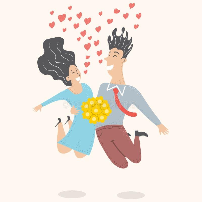 Państwo młodzi skacze dla radości przy ślubem royalty ilustracja