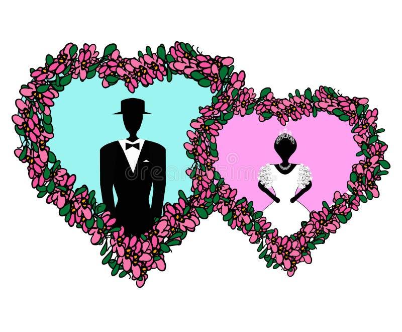 Państwo młodzi w różowym błękitnym sercu łatwy redaguje kwiatu serce Wektorowa ilustracja na odosobnionym tle ilustracja wektor