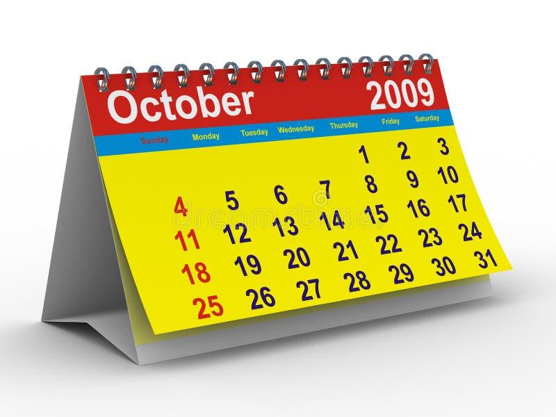 Październik 2009 kalendarzowych rok ilustracja wektor