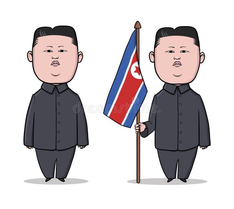 PAŹDZIERNIK, 30, 2017: Karykaturuje charakteru Północno-koreańska lidera Kim UN, stoi z flaga również zwrócić corel ilustracji we ilustracja wektor